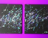 "2 Piece Canvas Art Original  ""Space Explosion"" blue, purple, white, violet"