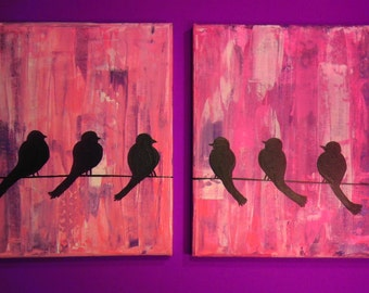 SALE! Original Canvas Art: Impasto Girly Pink and Purple Birds on Telephone Wire