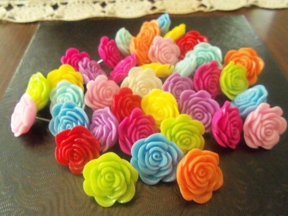 Real colorful 20mm resin flower push pins, thumb tacks