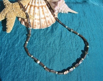 Shell and sterling silver necklace