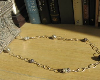 Silver Necklace with Beaded Accents