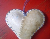 One of a kind HANGING HEART. From Loveland, Colorado. A unique ORNAMENT made with softball skins.
