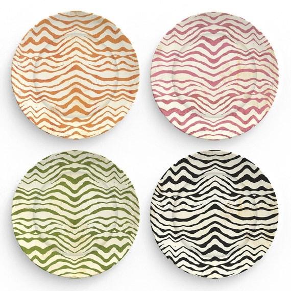Zebra stripes - Four 10 inch Melamine Plates