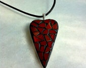 Glass heart mosaic pendant