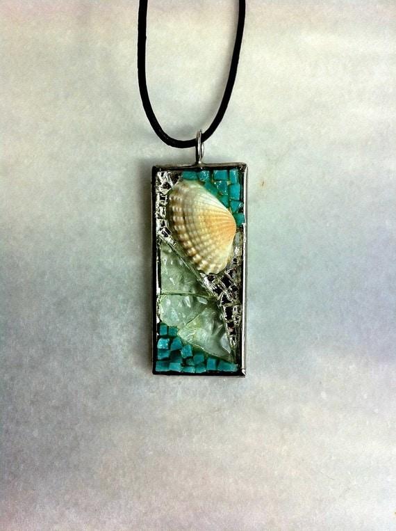 Glass & sea shell mosaic pendant