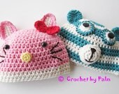 Crochet Blue Bear hat, Pink Kitty hat, Newborn Photo prop