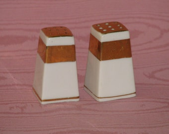 Vintage Japan Gold and White Salt and Pepper Shakers