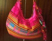 Hobo Bag - Fushia Pink Ethnic Stripe Hobo Bag with Indian Elepant Keychain/Bag Decoration included FREE SHIPPING