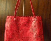 Leather Tote - Red Hand Dyed Large Leather Tote with Hand Embossed Flowers and Saddle Stiching Detail FREE SHIPPING