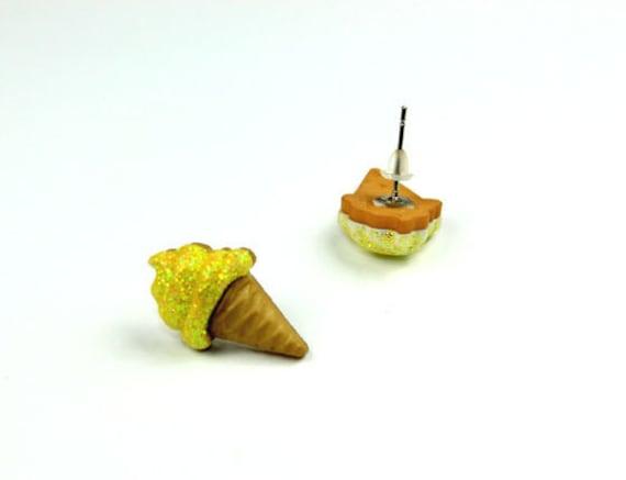 Glitter Yellow Ice Cream Cone Stud Earrings - Kawaii