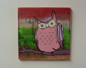 Spring Colored Whimsical Owl Painting - Stretched Canvas - Whimsical Wall Art - Nursery