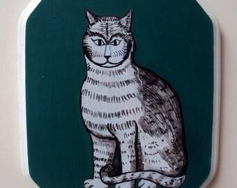 Original Folk Art Painting On Wood - Grey Tabby Cat Wall Art - Gray Green Cat Kitchen Decor - Original Acrylic Painting
