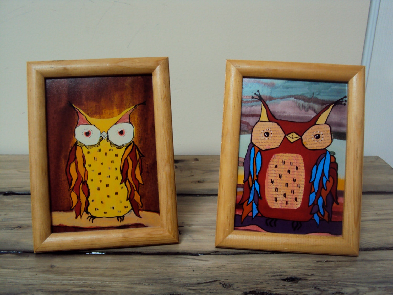 Set of Two Framed Owl Art Prints Framed Art by ElizabethanFolkArt