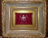 Bat Skeleton in Large Ornante Gold Frame