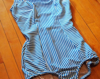 Blue and White Pinstripe One Piece Vintage Inspired Swimsuit