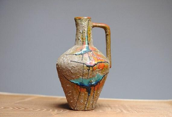 Mid Century modern Italian fat lava vase