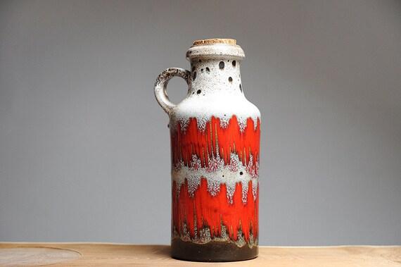 West German Lore decor handled vase by Scheurich