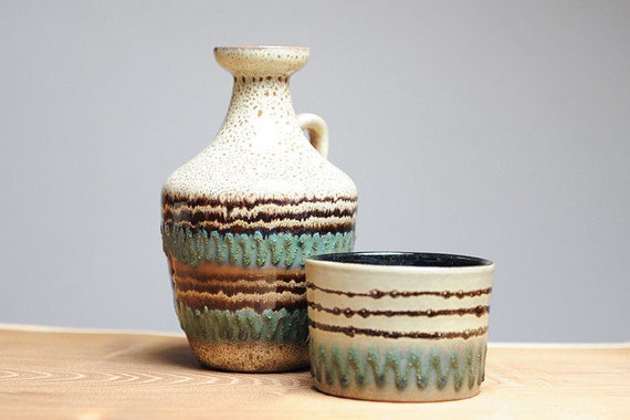 Mid century modern pottery set - vase and a planter by Strehla (East Germany)
