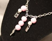 Key Charm Necklace Pink Beaded Silver Chain