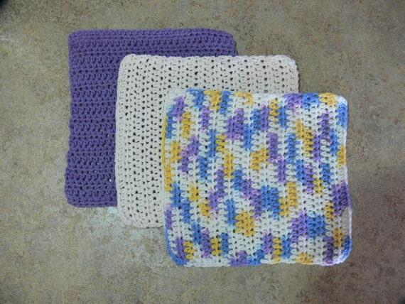 3 Cotton Crochet Dishclothes - FS-041