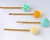 Aqua and Yellow Hair Pin Set