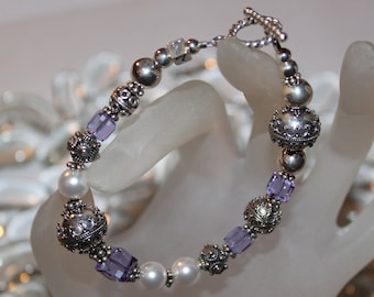 Swarovski Tanzanite and Pearl Crystal Bracelet