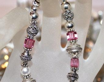 Swarovski Rose and Pearl Crystal Bracelet
