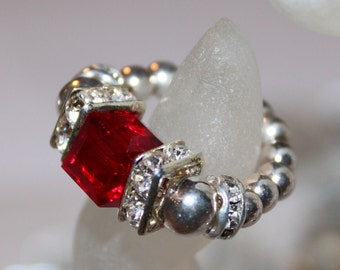 Swarovski Ruby Red Beaded Ring