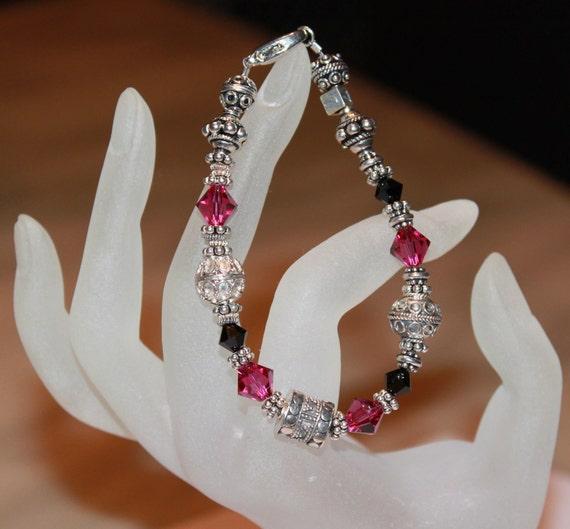 Fuchsia and Jet Crystal Bracelet