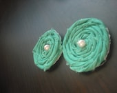 Teal green Cloth Rosette Flowers Set of 2 (Super Grand Opening Low Price)