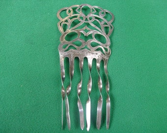 Antique Hallmarked English Silver Hair Comb/ Art Nouveau Solid Silver Hair Comb