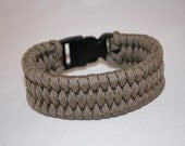 Tan Paracord Bracelet with Wide Fish Tail Weave
