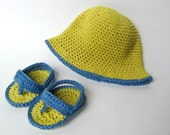 SUMMER CLEARANCE 30% OFF, Little Beach Boy Crochet Baby Hat and Sandals, Yellow and Blue Organic Cotton, Newborn, Cute Photo Prop