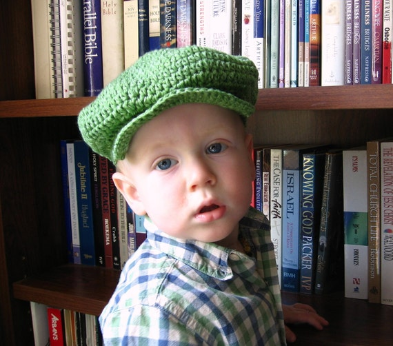 St. Patrick's day Hat for Boys Flat Cap Organic Baby Newsboy Hat Scally Cap Crochet Green Cute Photo Prop MADE TO ORDER Custom Size