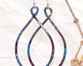 Shades of Blue Patina Copper Earrings on Silver Earwires - Hand Hammered Earrings