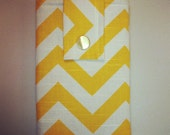 Kindle Fire Case with Ear Bud Pouch, Kindle Koozie Cover - Yellow Chevron Print Padded Sleeve