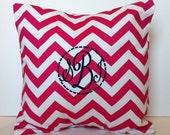 Monogrammed Pillow Case 16x16 - Candy Pink Chevron