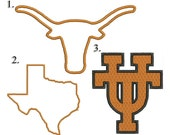 3 Texas Embroidery Designs.  All 3 designs are in sizes 3x3, 4x4, and 5x5 inches.