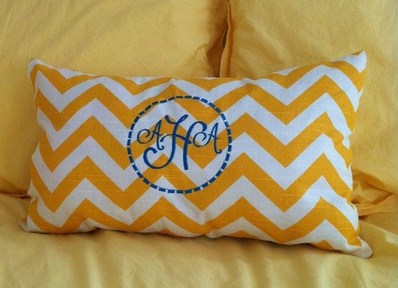 Monogrammed Pillow, Personalized Embroidered Throw Pillow - Chevron Print