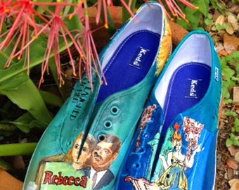Old Hollywood Inspired, Custom Painted Shoes