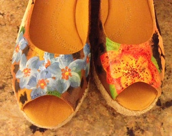 Custom Painted Safari, Floral Wedges