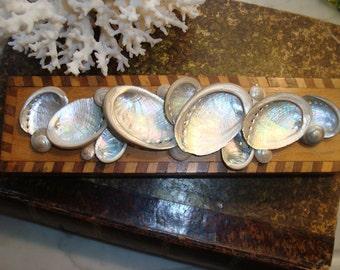 Seashell wooden inlaid box