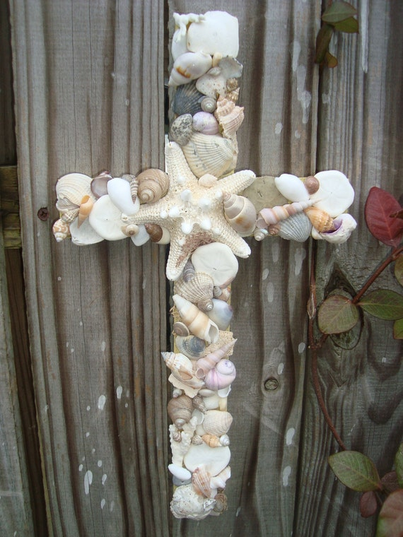 Seashell Cross on Reclaimed Wood