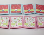 Blank mini card set of 8, size 3 x 3 inches, light blue and pink
