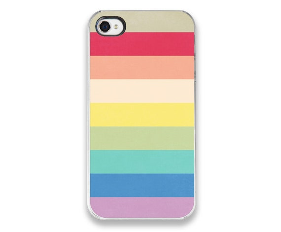 iPhone 4/4s Case - Stripes - Rainbow iPhone Cover (black sides) ORIGINAL design - bright colorful accessory, summer pastel fashion