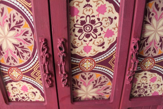 Upcycled Refurbished Amy Butler Fabric Jewelry Box- Chalk Paint