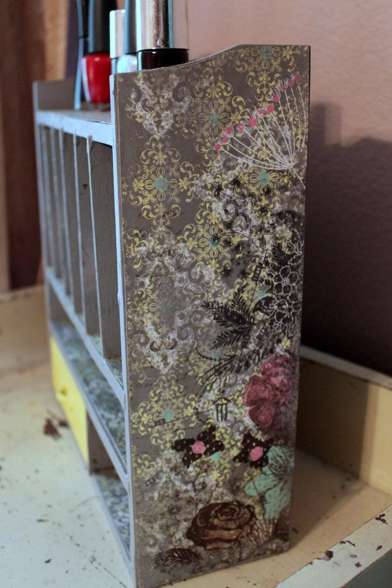 Yellow and Gray Nail Polish Cabinet- Storage-Upcycled-Shelf