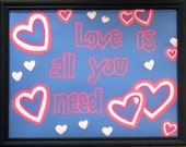 """Wall Art - Painted Quote Frame - """"Love is all you need"""""""