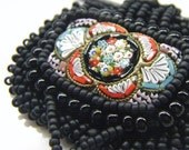 Bead embroidered black leather necklace, upcycled micro mosaic pendant