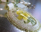 Bead embroidered daffodil pendant necklace with prehnite and beaded beads